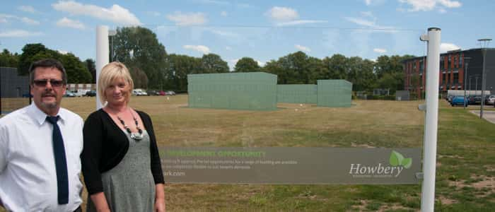 Angela Andrews of Howbery Business Park and Robert Pickford of Wallingford School at Howbery's development site.