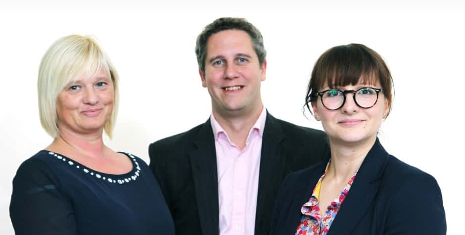 Chris Savage, of Round & About, pictured with Angela Andrews and Lauren Patterson of Howbery Business Park