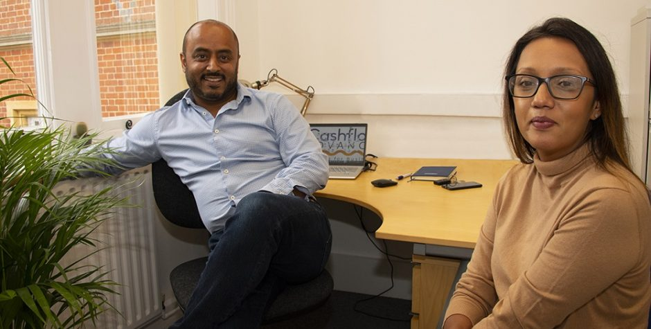 Raj and Cindy Tanna in their Howbery Park office